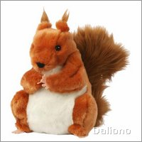 European wildlife hand puppet squirrel, red