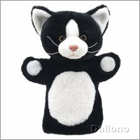 Hand puppet cat (black and white)