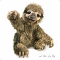 Folkmanis hand puppet three toed sloth