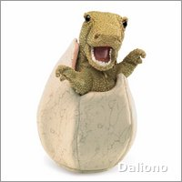 Folkmanis hand puppet dinosaur baby in the egg