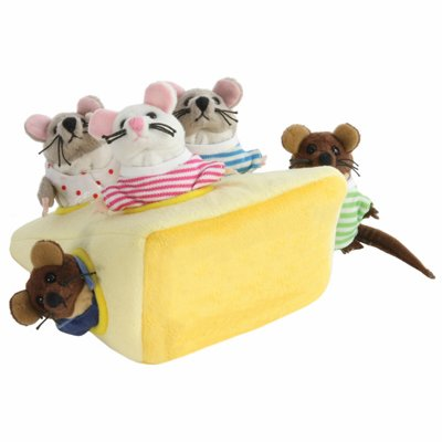 Family mouse in the cheese - finger puppets set