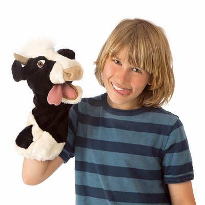 Folkmanis hand puppet moo cow (stage puppet)