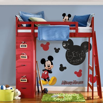 micky maus mit kreide beschriftbare wandsticker roommates for kids handpuppen shop living. Black Bedroom Furniture Sets. Home Design Ideas