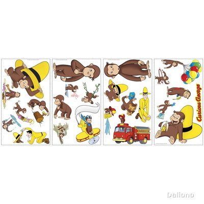 Curious George Wall Decals - RoomMates for KiDS - Handpuppen Shop ...