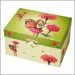 Trousselier elf with water lily jewel case & music box