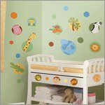 Jungle Animal Polka Dot Wandbild - RoomMates for KiDS